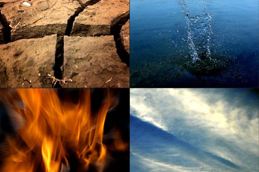 Els 4 elements naturals: terra, aigua, foc i aire.